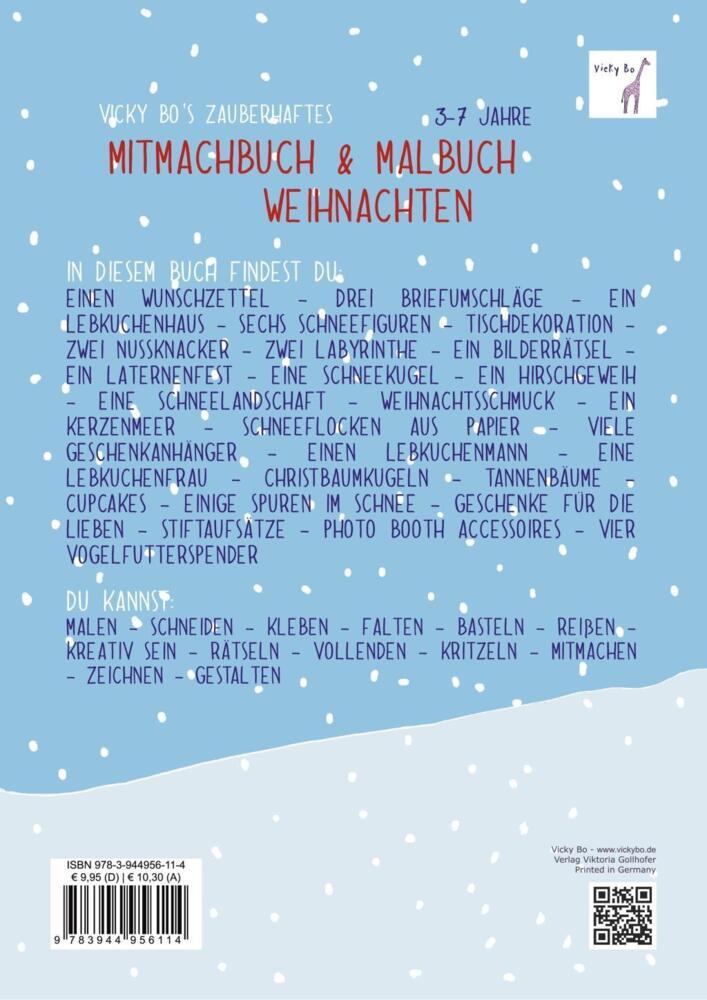Vicky Bo S Zauberhaftes Mitmachbuch Malbuch Weihnachten Ab 3